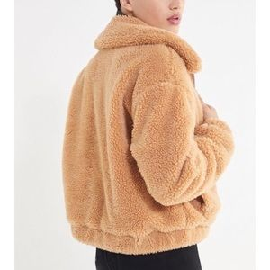 Urban Outfitters Cropped Teddy Sherpa Jacket